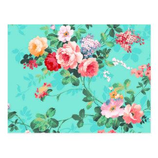 Motif rouge-rose élégant vintage de roses jaunes carte postale