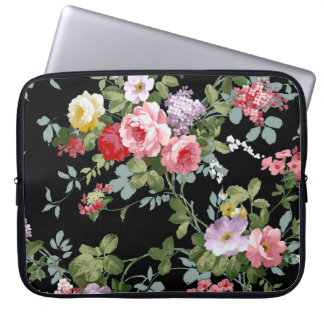 Motif rouge-rose Girly élégant vintage de roses Trousse Pour Ordinateur Portable