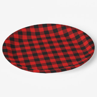 Motif rouge traditionnel de plaid de contrôle de assiettes en papier