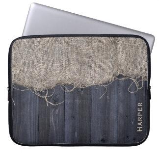 Motif rustique en bois et de toile de jute de trousses pour ordinateur portable