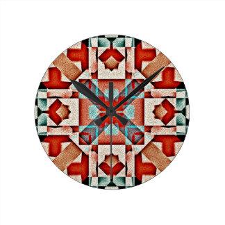 Motif rustique indien indigène turquoise de tribu horloge ronde