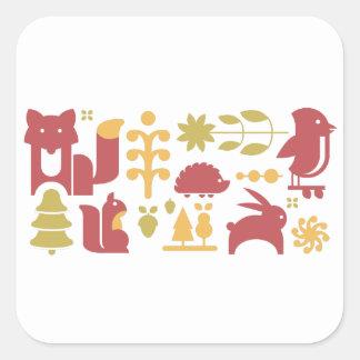 Motif sans couture d'automne avec la forêt sticker carré