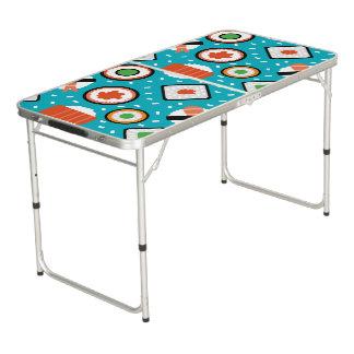 Motif sans couture de bande dessinée de sushi de table beerpong