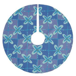 Motif sans couture de batik floral bleu de minuit jupon de sapin en polyester brossé