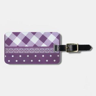 Motif sans couture de belle damassé checkered étiquette à bagage