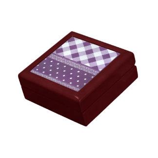 Motif sans couture de belle damassé checkered petite boîte à bijoux carrée