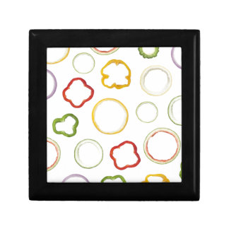 Motif sans couture de fruit de forme annulaire petite boîte à bijoux carrée