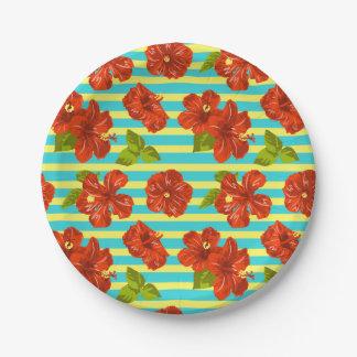 Motif sans couture de ketmie rouge d'été assiettes en papier