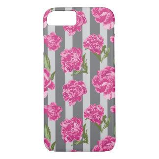 Motif sans couture de pivoine rayée de roses coque iPhone 7