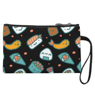Motif sans couture heureux mignon de sushi sur le mini-pochette