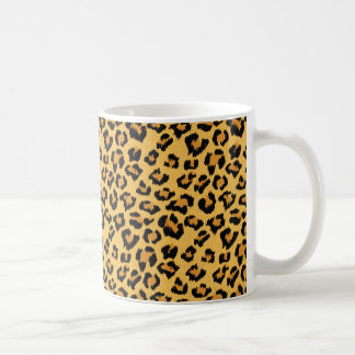 Motif sauvage de safari de fourrure de faux mug blanc
