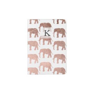 Motif sauvage d'éléphants d'or rose moderne protège-passeport