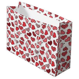 Motif simple de flottement de coeurs de Valentine Grand Sac Cadeau