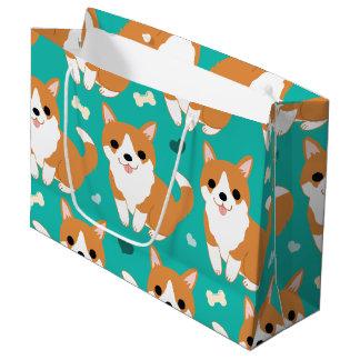 Motif simple d'illustration de chien mignon de grand sac cadeau