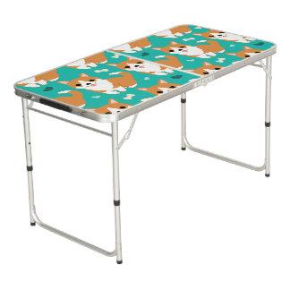 Motif simple d'illustration de chien mignon de table beerpong