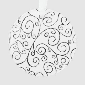 Motif sinueux noir peint à la main sur le blanc