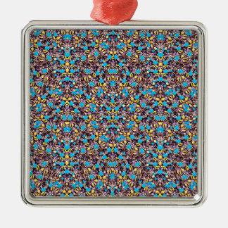 Motif stylisé exotique de nature ornement carré argenté