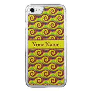 Motif super d'abrégé sur remous de Brown jaune Coque En Bois iPhone 7