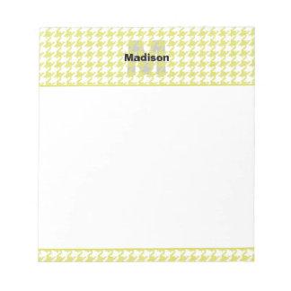 Motif texturisé jaune et blanc de pied-de-poule blocs notes