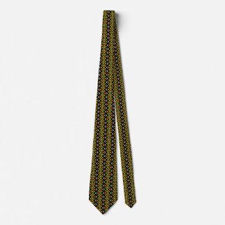Motif tribal abstrait de jaune orange et de noir cravates