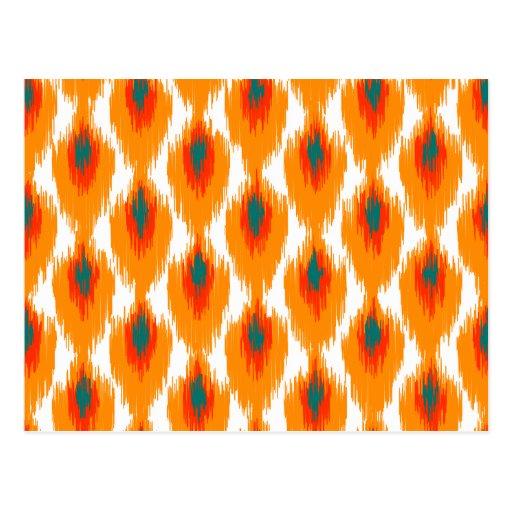 Motif tribal abstrait orange de diamant de Teal Carte Postale
