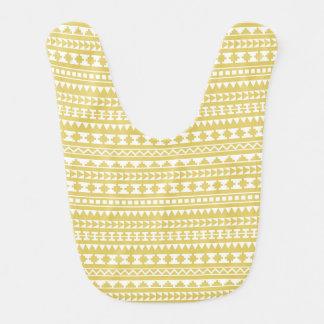 Motif tribal aztèque de jaune léger de moutarde bavoirs pour bébé
