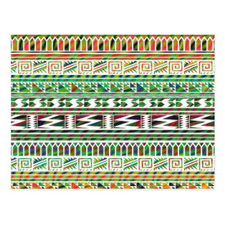 Motif tribal aztèque géométrique multicolore carte postale