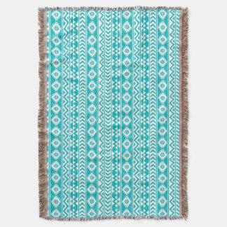 Motif tribal aztèque grunge turquoise couvre pied de lit