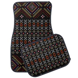 Motif tribal aztèque noir et rouge des Andes Tapis De Voiture