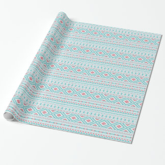 Motif tribal aztèque turquoise et rose papiers cadeaux noël