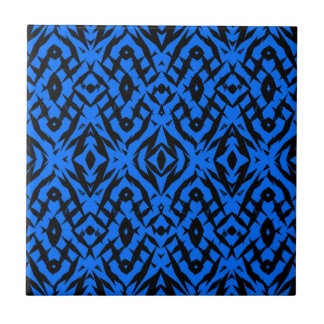 Motif tribal bleu de formes carreau