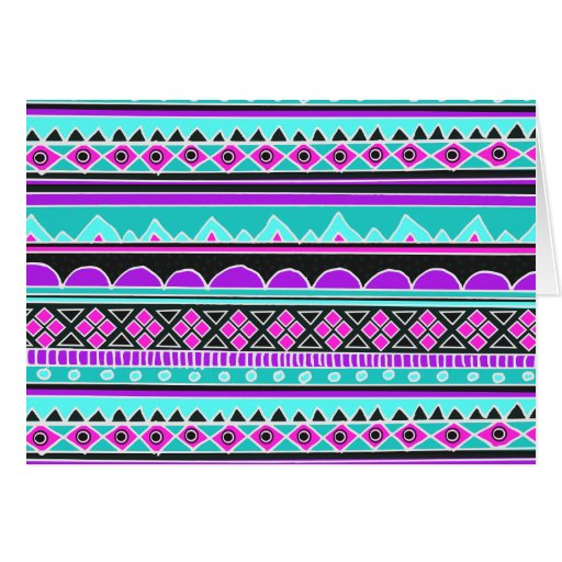 Motif tribal bleu et pourpre lumineux cartes de v ux zazzle - Motif carte de voeux ...