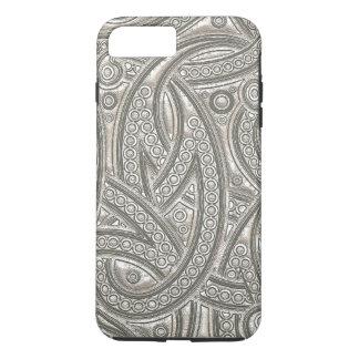 Motif tribal chic en cuir argenté de Paisley de Coque iPhone 7 Plus