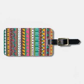 Motif tribal coloré étiquettes bagages