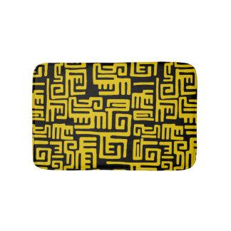Motif tribal d'Africain noir jaune minimal Tapis De Bain
