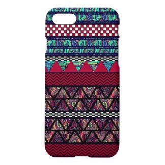 Motif tribal de rayures de Boho de paon marron Coque iPhone 7