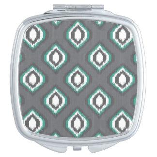 Motif tribal de rétro ikat géométrique miroirs compacts