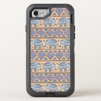 Motif tribal d'éléphant ethnique bleu coque otterbox defender pour iPhone 7