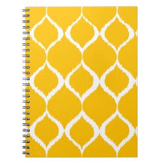 Motif tribal géométrique jaune d'or d'impression carnets à spirale
