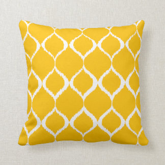 Motif tribal géométrique jaune d'or d'impression coussin décoratif