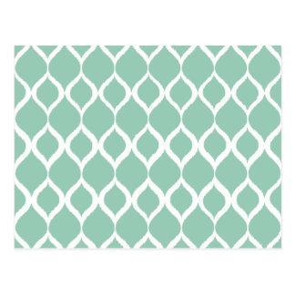 Motif tribal géométrique vert en bon état carte postale