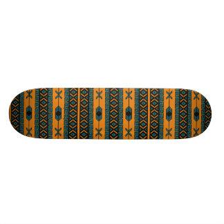 Motif tribal orange et turquoise plateau de skate