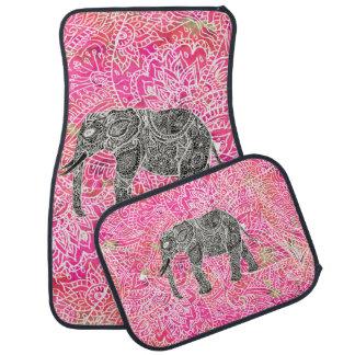 Motif tribal rose de henné d'éléphant de Paisley Tapis De Sol