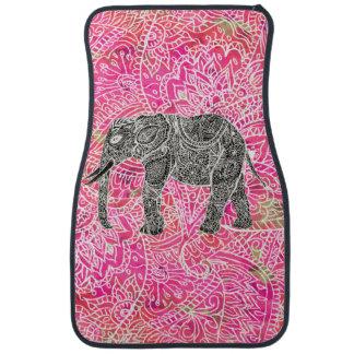 Motif tribal rose de henné d'éléphant de Paisley Tapis De Voiture