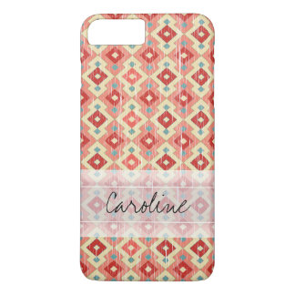 Motif tribal rouge-rose de diamant de Geo Ikat de Coque iPhone 7 Plus