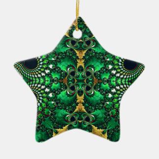 Motif Trippy brillant de fractale d'or vert Ornement