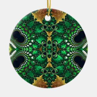 Motif Trippy brillant de fractale d'or vert Ornements