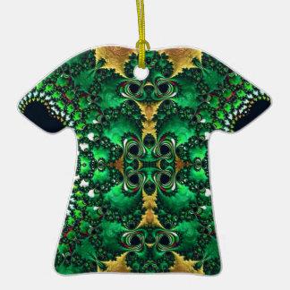 Motif Trippy brillant de fractale d'or vert Décoration De Noël