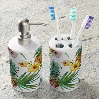 Motif tropical d'ananas d'aquarelle de thème set de salle de bain