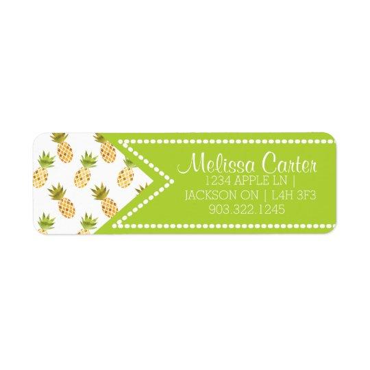 Motif tropical d'ananas d'aquarelle étiquette d'adresse retour